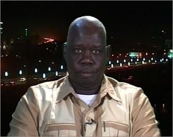 Abdullah Deng Nhial speaks to Al-Jazeera TV in April 2010 during his campaign for the Sudanese presidency (Photo: FILE/Al-Jazeera TV)