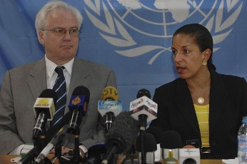 Susan Rice (R), U.S. ambassador to the United Nations, speaks next to Russian Ambassador to the U.N. Vitaly Churkin during a news conference at the United Nations Missions in Sudan (UNMIS) headquarters in Juba, in South Sudan May 24, 2011 (Reuters)