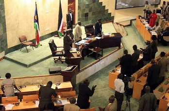South Sudanese MPs stand during a parliamentary session in Juba on August 31, 2011 where the ruling party used its huge majority to approve a new cabinet over opposition objections that the number of ministers was beyond the means of the world's newest nation (AFP)
