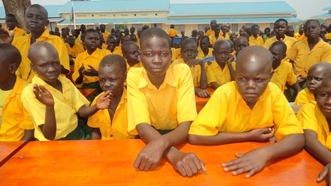 Pupils of Owinykibul central primary school during its inauguration, July 20, 2012 (ST/Uma Julius)