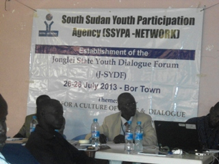 Youth participants attending the three-day forum in Bor July 26, 2013 (ST)
