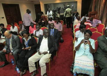 Journalists attend a briefing on new media laws approved by South Sudan's president, Salva Kiir, on 9 September 2014 (ST)