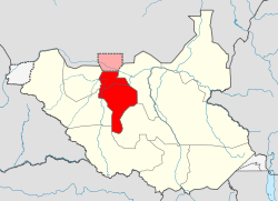 Map of South Sudan showing Warrap state in red