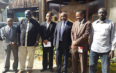 Sa'ihoon and SPLM-N leaders pose together in an undated picture