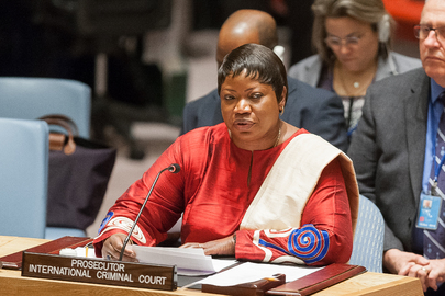 Fatou Bensouda, Prosecutor of the International Criminal Court (ICC), briefs the Security Council at a meeting on the situation in Darfur (UN Photo)