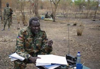 Riek Machar sits in his field office in a rebel controlled territory in Jonglei State February 1, 2014. (Photo/Reuters/Goran Tomasevic)