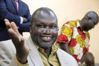 South Sudanese rebel leader Riek Machar smiles during a news conference in Khartoum, on September 18, 2015 (ST Photo)