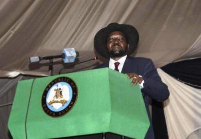 South Sudan President Salva Kiir voices his reservations before signing a peace deal in the capital Juba, South Sudan Wednesday, Aug. 26, 2015. (Photo AP/Jason Patinkin)