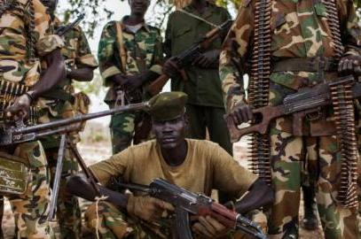 SPLA soldiers, from the 2nd Battalion pose at the SPLA headquarters in Nyang, in the county of Yirol East, on February 15, 2014 (Photo AFP/Fabio Bucciarelli)