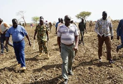 SPLA Chief of General Staff, Gen. Paul Malong Awan (C) is visiting his farms in his homeland of Warawar in Aweil East State on  7 May 2016 (Photo Moses Lomayat)