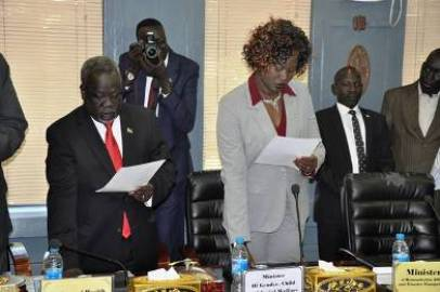 Ministers of the Transitional Government of National Unity swearing in on 29 April 2016 (Photo Moses Lomayat)