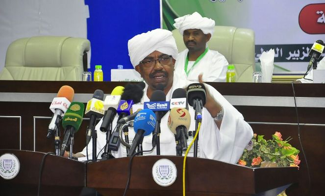 Sudanese President Omer al-Bashir speaks, during a meeting of the NCP Shura Council in Khartoum on October 21, 2016 (ST Photo)