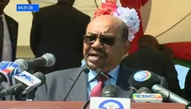 Sudan's President Omer al-Bashir speaks in Hara, Ethiopia on 8 december 2016 (ENA Photo)