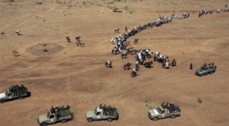Joint Sudanese-Chadian border patrol forces in trucks (ST fIle photo)