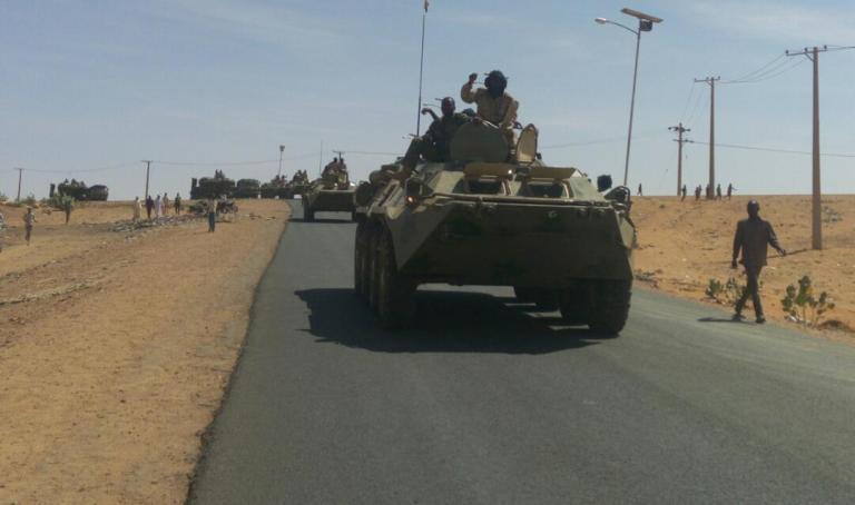 RSF armoured vehicles arrive to El Fasher on 27 October 2017 (ST Photo)