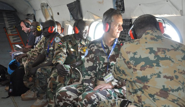 Sudanese, South Sudanese and international monitors during an hovering operation (UNISFA Photo)