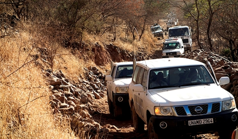 A photo released on 1 March 2018 showing  an UNAMID integrated team conducts a humanitarian and security assessment mission to Golo and Rokero, Central Darfur ( UNAMID Photo)