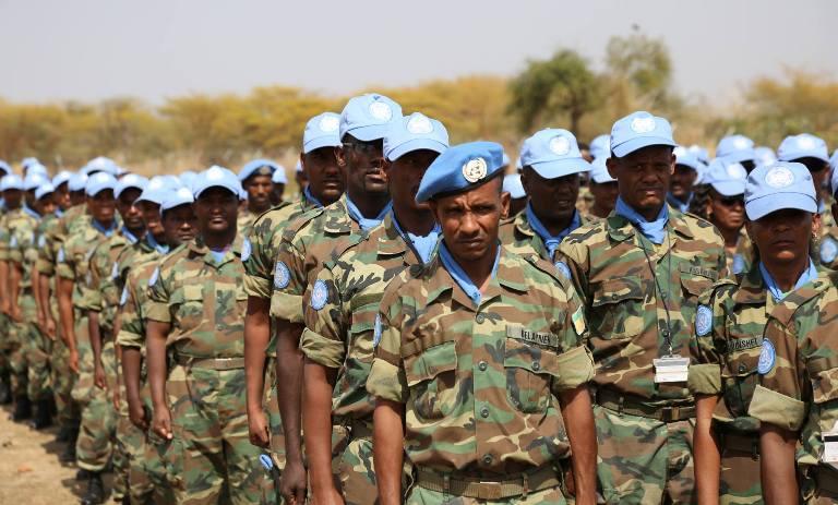 Ethiopian peacekeepers in Abyei on 14 August 2016 (UNISFA photo)