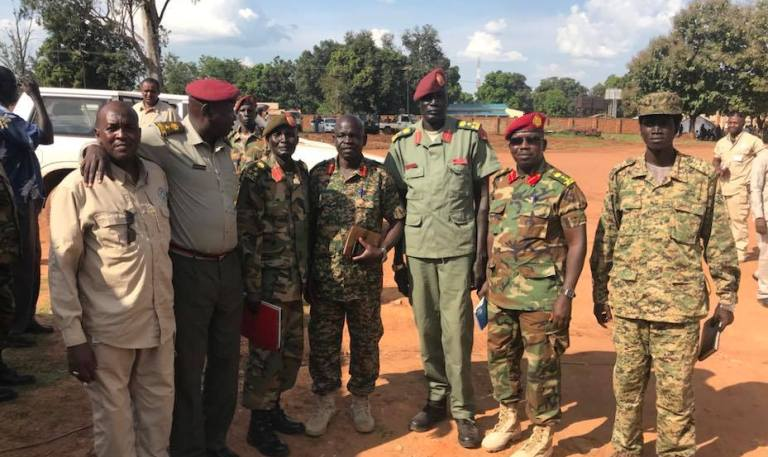 Lam Paul  Gabriel SPLA-IO Spokesperson (2R) pose with some participant at the end of a meeting at the SSPDF headquarters in Yei on 8 November 2018 (Photo SPLA-IO)