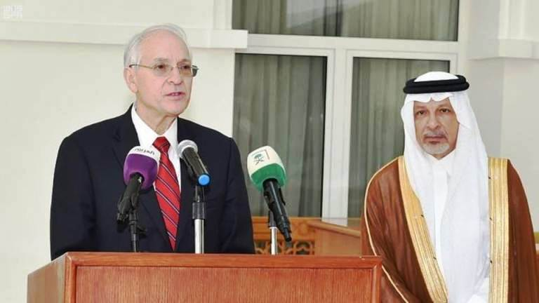 US envoy for Sudan and Saudi State Minister for African Affairs speak to reporters in Jeddah on 29, June 2019 (Photo SPA)