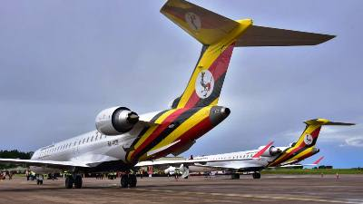 The newly acquired Uganda Airlines planes at Entebbe airport (CNN photo)