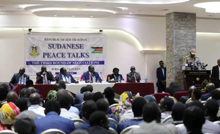 Opening session of the third round of peace talks in Juba on 10 Dec 2019 (Sovereign Council Photo)